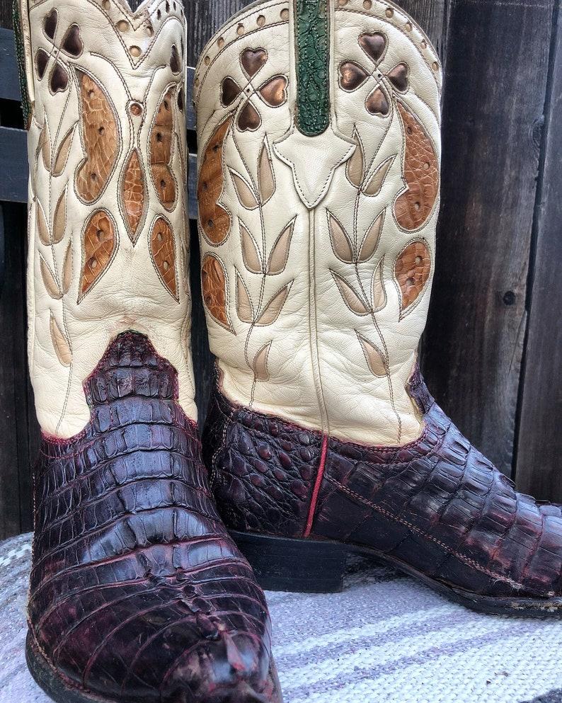 d23af05a58a Vintage Cuadra Lucky Clover Shamrock Western Boots Sz 7 Rockabilly, Cowboy,  Cowgirl, Vintage Western Alligator and Leat