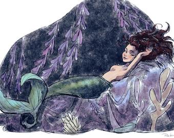 Reclining Mermaid   Beautiful Mermaid Girl   Illustration   Fine Art Print   Flimflammery