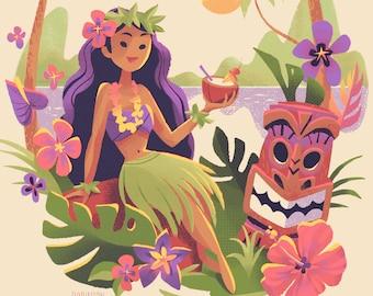 Tiki Girl   Hawaiian Girl with Drink and Tiki Masks   Illustration   Fine Art Print   Flimflammery