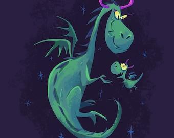 Dragon Mom & Babt   Fine Art Print   Flimflammery