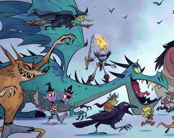Villains Parade   Werewolf Dragon Skull Ogre Raven   Illustration   Fine Art Print   Flimflammery