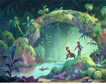 Steampunk Jungle Explorers   Fantasy Jungle    Illustration   Fine Art Print   Flimflammery
