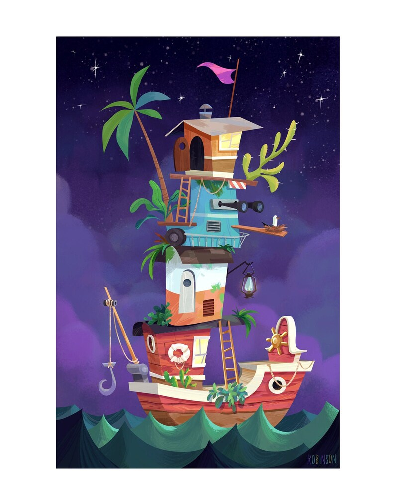 Magical Houseboat  Boat on the High Seas Illustration  Fine image 0