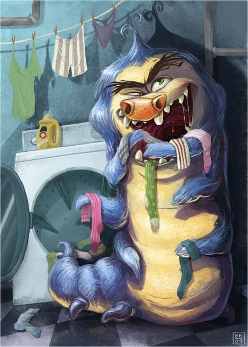 dae863b2cb Sock Monster Fine Art Print Where do your socks go | Etsy