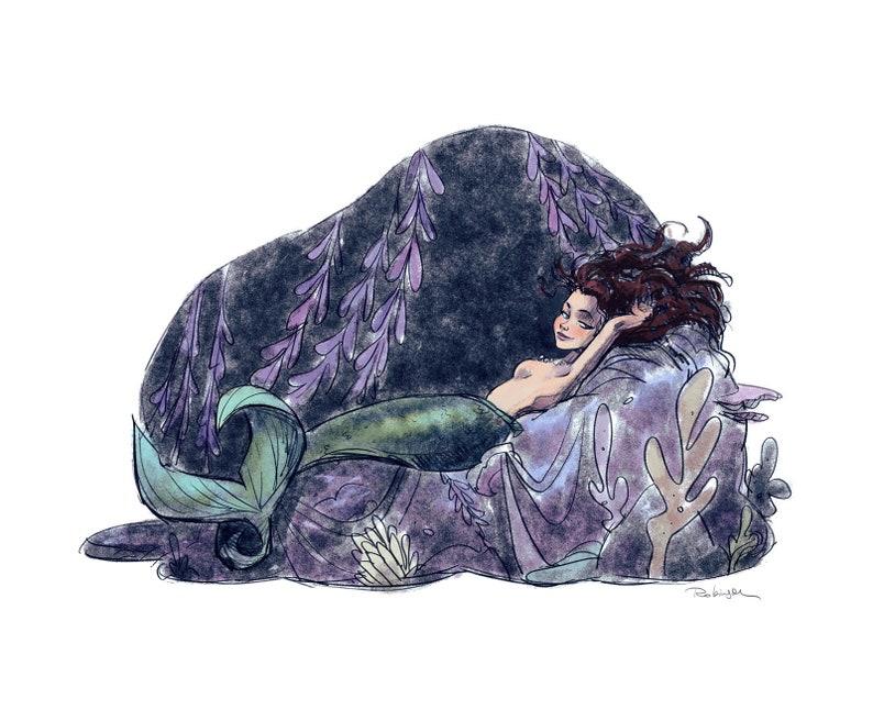 Reclining Mermaid  Beautiful Mermaid Girl  Illustration  image 0