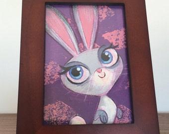 ORIGINAL | Rabbit | 3x5 Framed Acrylic Painting | Flimflammery