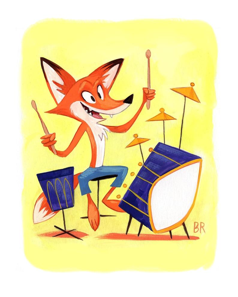 Fox with Drums   8x10 Fine Art Print  Animal Music Art  image 0