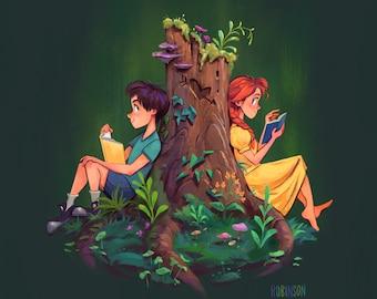 Stump Love   Boy and Girl Readying in Love Tree Stump   Fine Art Print   Flimflammery