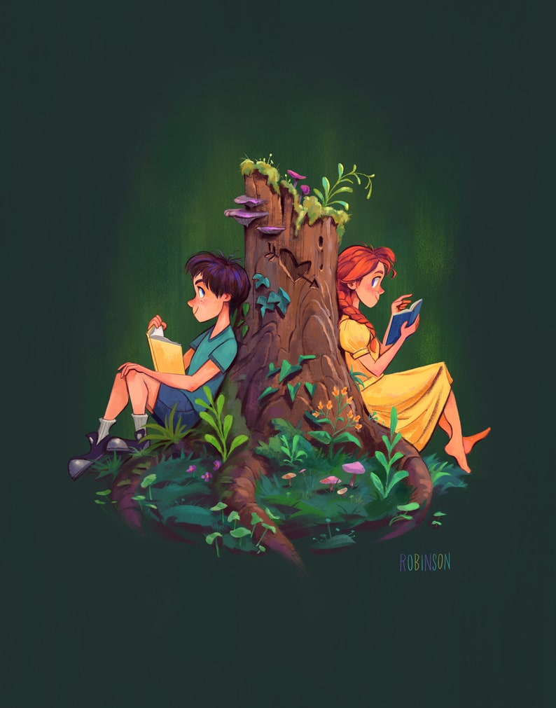 Stump Love  Boy and Girl Readying in Love Tree Stump  Fine image 0