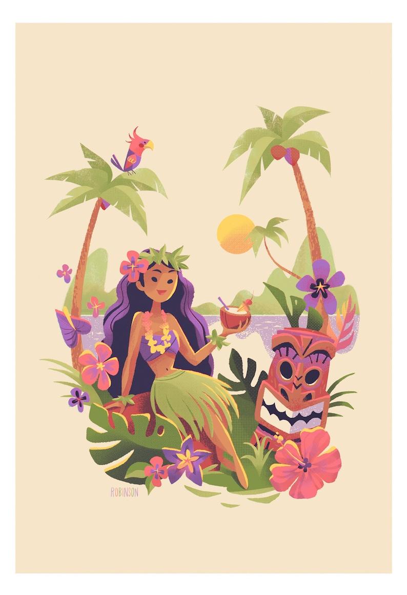 Tiki Girl  Hawaiian Girl with Drink and Tiki Masks  image 0