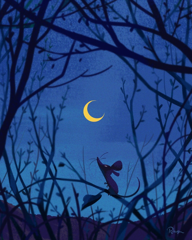 The Mouse & The Moon  Fine Art Print  Field Mouse Looking Up image 0