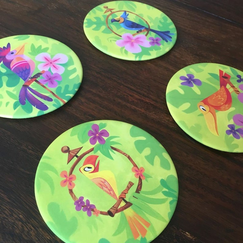 Tiki Bird Coasters  Drink Coasters  Jungle Birds Flowers image 0