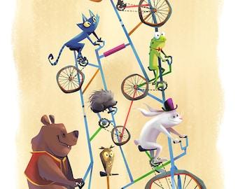 Tall Bike | Fine Art Print | Imaginative Crazy Bike, Circus, Bear, Rabbit, Frog, Cat, Children's or Nursery Room | Flimflammery