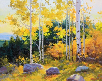 """Commissioned Art Original Oil Painting of the Artist Gary Kim """"Autumn Beauty of SangreDe Cristo Mountain"""" Aspen Birch Tree Art Rolled Canvas"""