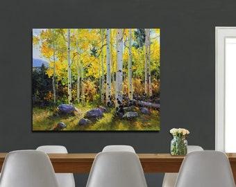 Aspen Tree Painting Original Canvas Art Aspens Large Modern Oil Birch Tree Fine Art Mural Painting Original Art Aspens Forests Made to Order