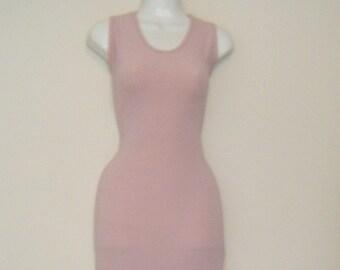 0846daa60323 Metallic 1970s/ 80s FROST PINK Lurex Body Con COLUMN Dress, sexy slit dress,  size m