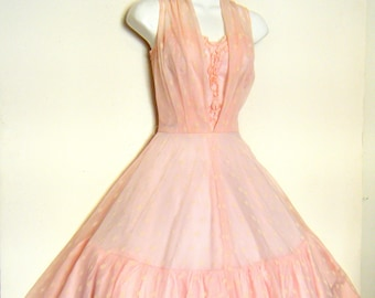 vintage 1950s Prom Dress PINK CHIFFON Party dress, size s