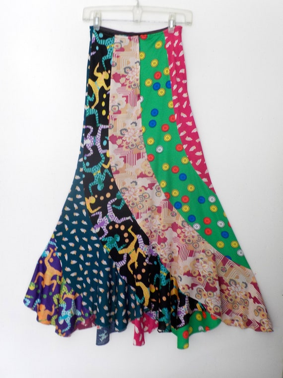 70s PSYCHEDELIC patchwork fishtail maxi skirt, siz