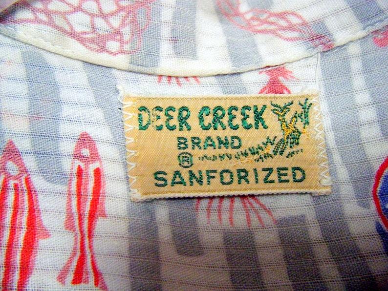 loop collar Vintage 1950s DEER CREEK Brand HAWAIIAN Shirt kids boys size 5-6 yrs