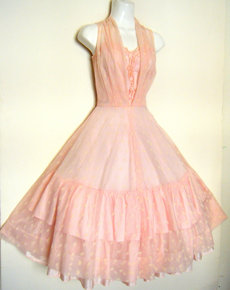 d0b361cff7 FREE Shipping to U S A.... vintage 1950s Prom Dress PINK CHIFFON Party  dress, size s