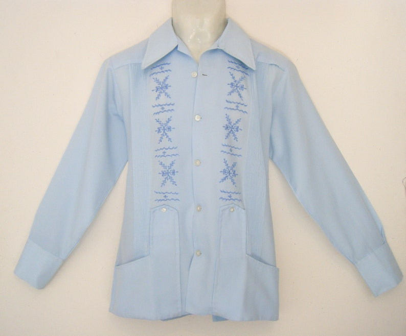 d305a56e Vintage 1960s loop collar GUAYABERA shirt EMBROIDERED Light   Etsy