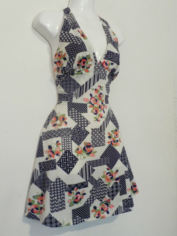 1970's Halter Top MiNi Dress Psych Print flirty do