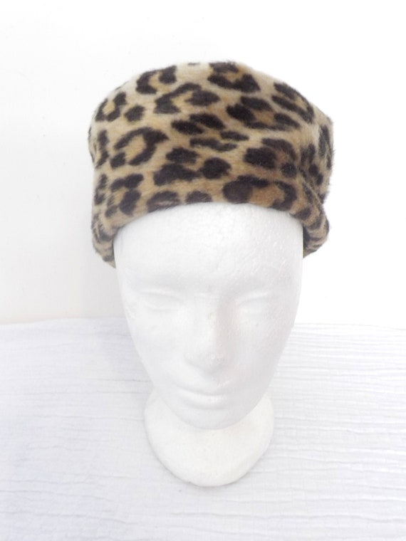 PILL BOX 1960's Leopard Print faux fur HAT