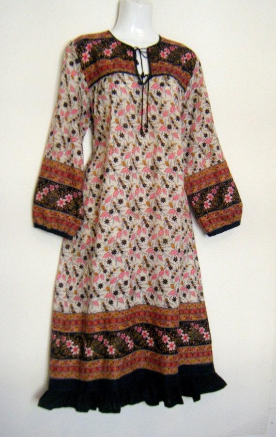 vintage 1960s Indian cotton hippie festival dress,