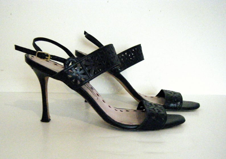 5f1bbfcc4008c 90s MANOLO BLAHNIK Stiletto Mule Sandals Heels navy blue | Etsy