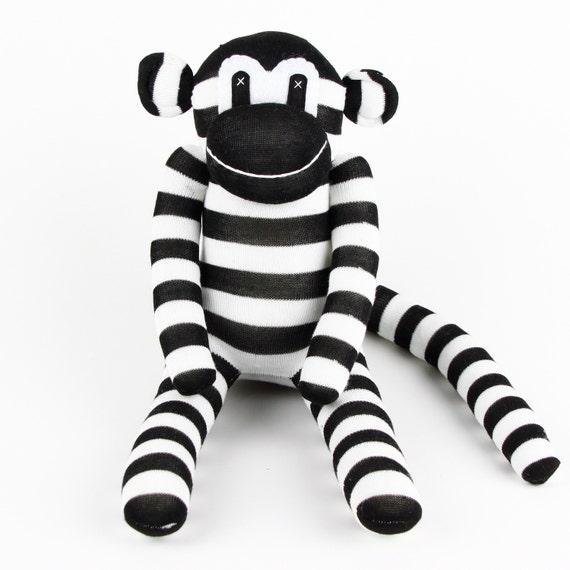 Handmade Black White Striped Sock Monkey Stuffed Animal Doll Etsy