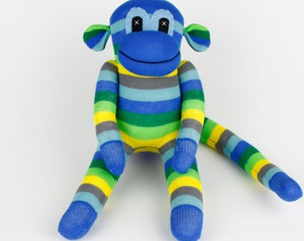 Christmas Gift Handmade Sock Monkey Stuffed Animal Doll Baby Boys Toys Birthday gift New year Gift