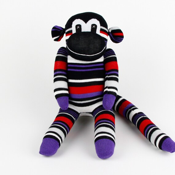 Handmade Purple Navy Striped Sock Monkey Stuffed Animal Doll Etsy