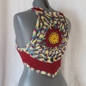 Crochet Summer Top,Boho Chic beach top Mustard Brown Crochet Cropped Tank SM Crochet Top Ready to ship Mandala Pixie Vest Top Halter