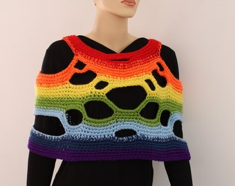 5 in 1 Universal Two-sided  Rainbow Crochet  Poncho Shawl  - Scarf  Cowl - Vest - Ready to ship