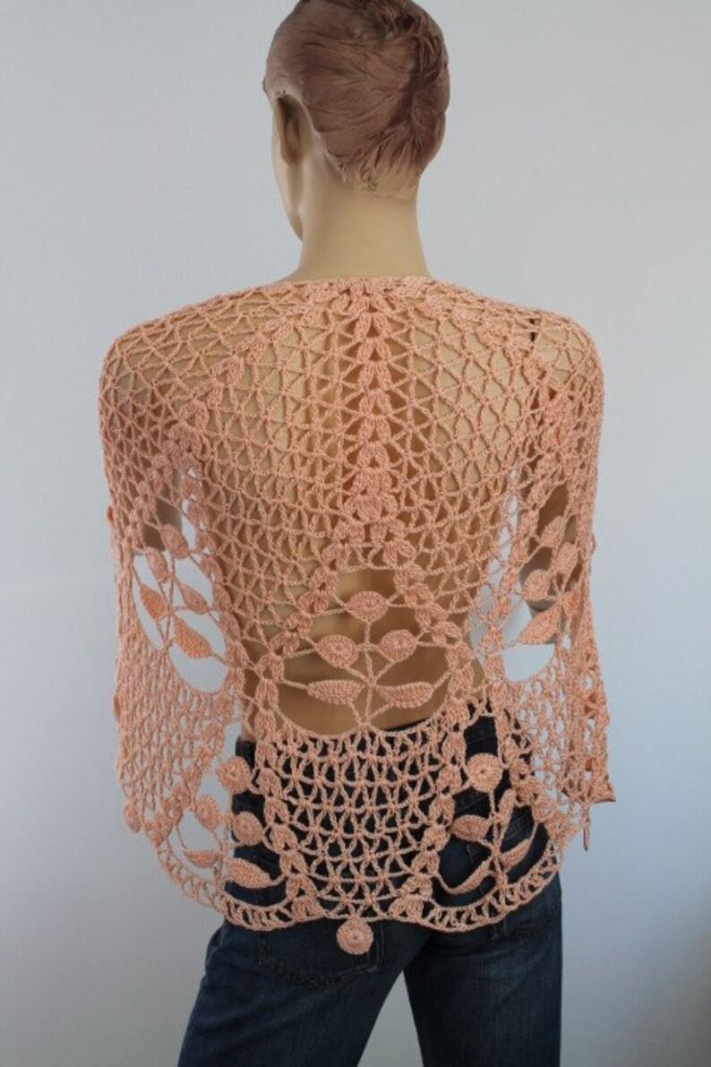 ddcf23d2612f Albaricoque algodón Crochet chal vacaciones accesorios