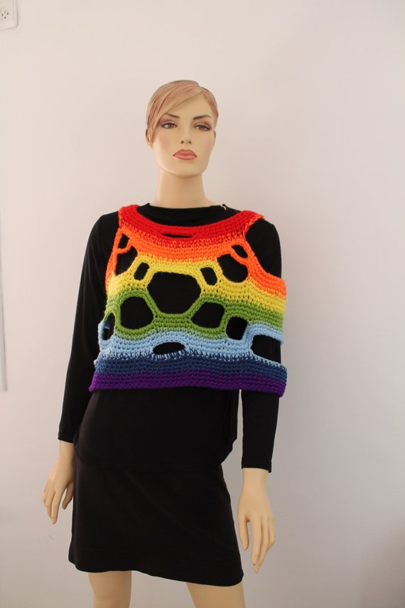 to 5 Two ship Vest 1 Scarf Ready sided Crochet in Shawl Poncho Rainbow Cowl Universal OrOxAqH