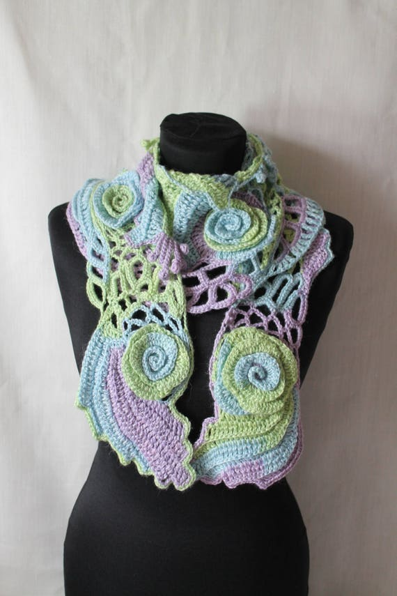 Collar   Fiber Art  Holiday Accessories Arizona Dreams  Freeform Crochet   Scarf
