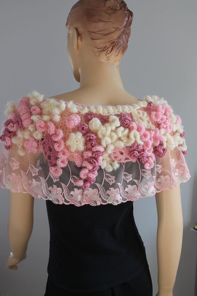 sakura blüte - einzigartige boho freeform häkeln capelet - hochzeit  achselzucken - tragbare kunst - ooak