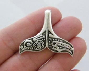 SC2714 6 Whale Tail Charms Antique Silver Tone 3D Larger Size
