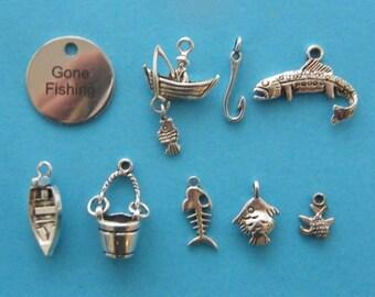 Charm Pendant Lot Set Collection 10pc Fishing Scrapbook,Jewelry//Fish,Hook