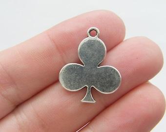 6 Heart card suit charms antique silver tone P270