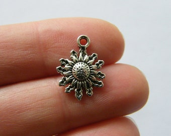 BULK 50 Flower charms antique silver tone F108
