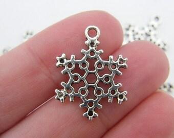 BULK 50 Snowflake charms antique silver tone SF20