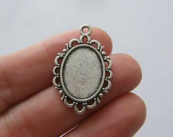 Frame pendant etsy 8 cabochon frame pendants antique silver tone fs160 mozeypictures Images