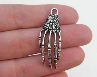 Silver Skeleton Hand Enamel Charm for a Scarfee Dog Scarves