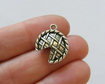 8 Slice of pie on a plate charms antique silver tone FD141