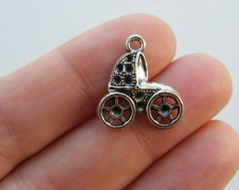 10 Baby pram charms antique bronze tone BC137