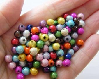 60 pcs acrylic miracle beads blue round 6 mm*