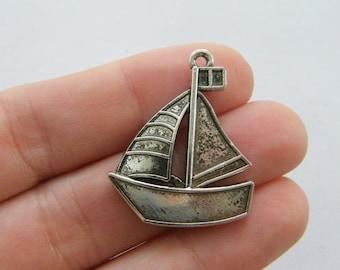 BULK 30 Alaska boat charms antique silver tone WT194