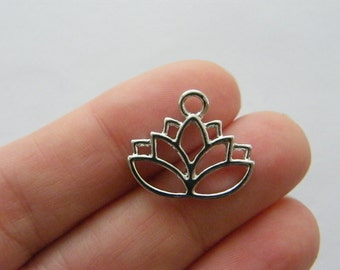 2 Lotus flower connector charms silver tone F191